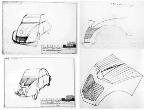 Schetsen van Bertoni voor het 'Cyclope' prototype